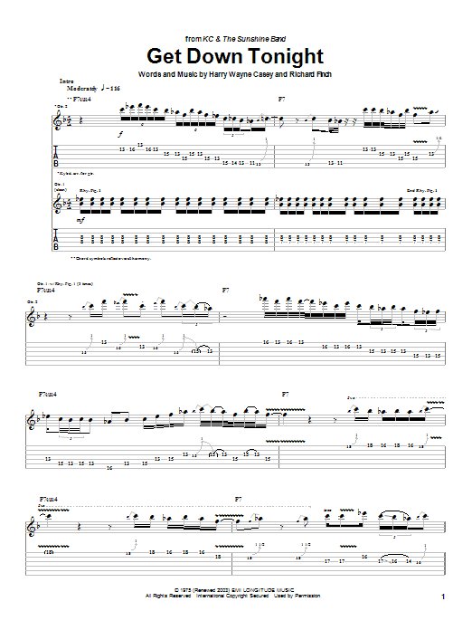 KC and The Sunshine Band Get Down Tonight sheet music notes and chords. Download Printable PDF.