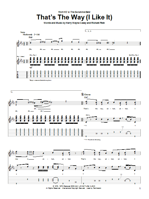 KC and The Sunshine Band That's The Way (I Like It) sheet music notes and chords. Download Printable PDF.