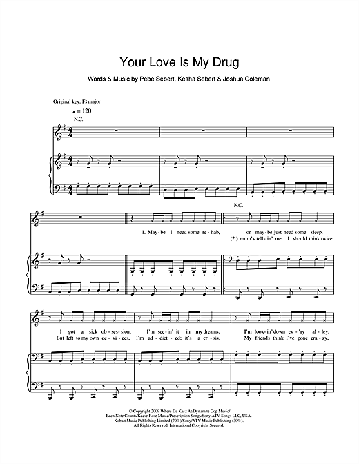 Ke$ha Your Love Is My Drug sheet music notes and chords. Download Printable PDF.