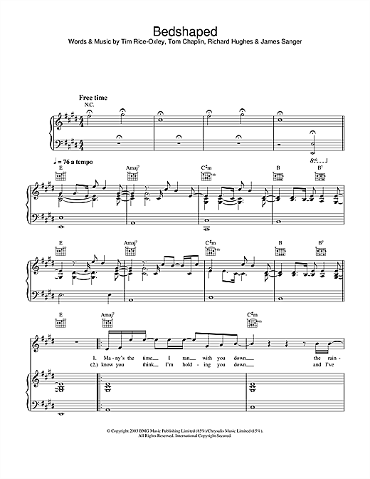 Keane Bedshaped sheet music notes and chords. Download Printable PDF.