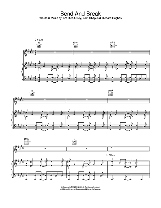 Keane Bend And Break sheet music notes and chords. Download Printable PDF.