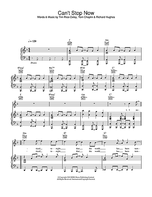 Keane Can't Stop Now sheet music notes and chords. Download Printable PDF.