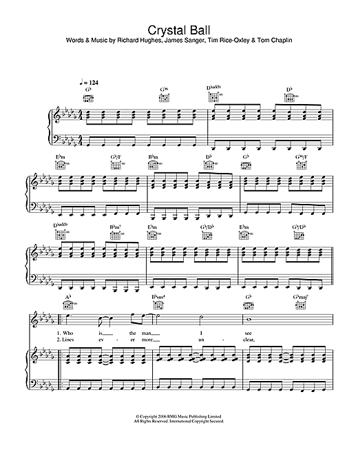 Keane Crystal Ball sheet music notes and chords. Download Printable PDF.