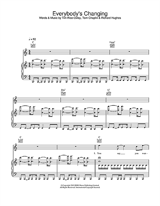 Keane Everybody's Changing sheet music notes and chords. Download Printable PDF.