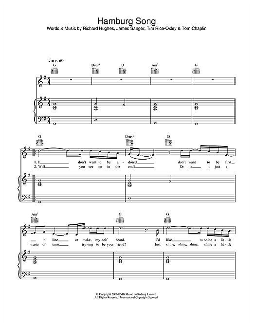 Keane Hamburg Song sheet music notes and chords. Download Printable PDF.