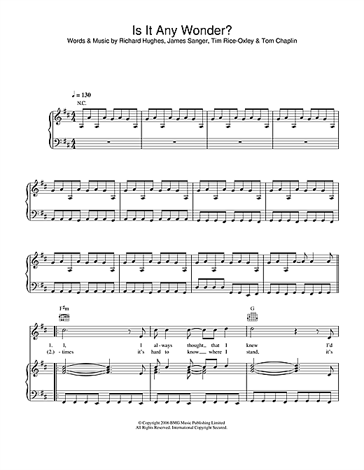 Keane Is It Any Wonder? sheet music notes and chords. Download Printable PDF.