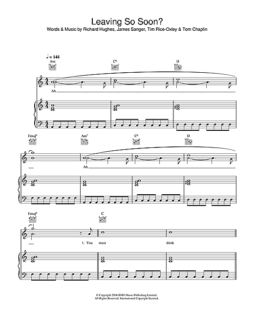 Keane Leaving So Soon? sheet music notes and chords. Download Printable PDF.