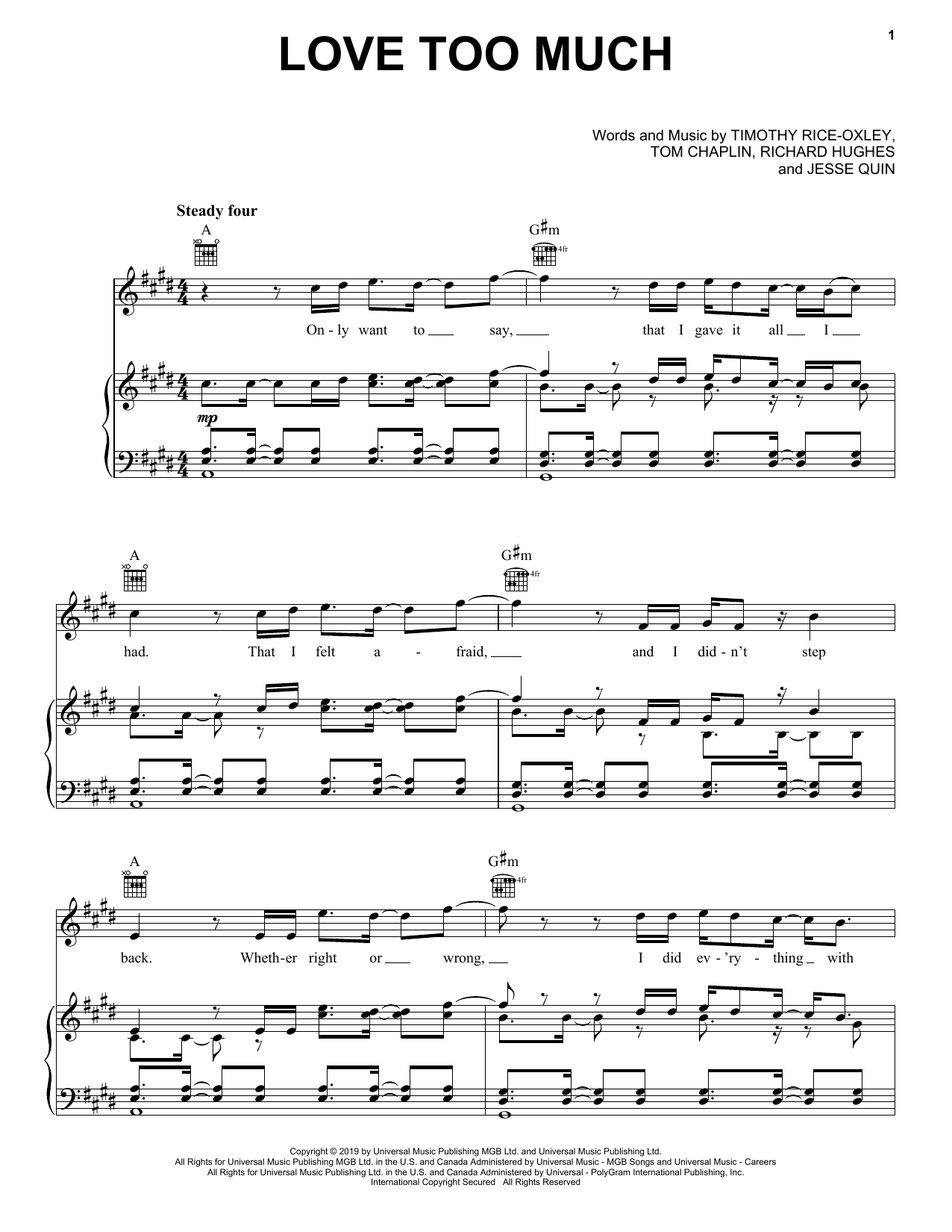 Keane Love Too Much sheet music notes and chords