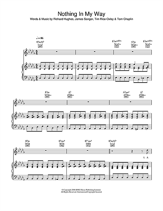 Keane Nothing In My Way sheet music notes and chords. Download Printable PDF.