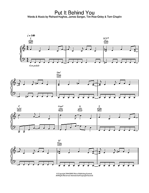 Keane Put It Behind You sheet music notes and chords. Download Printable PDF.