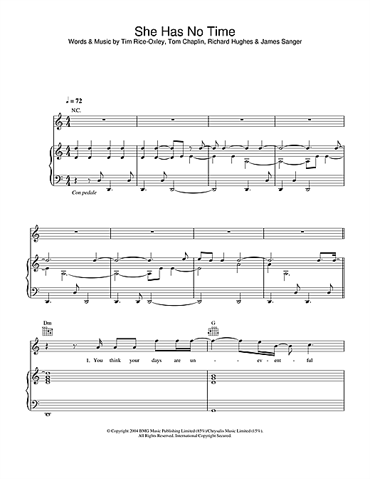 Keane She Has No Time sheet music notes and chords. Download Printable PDF.