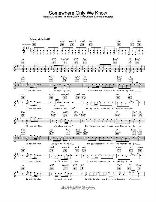 Keane Somewhere Only We Know sheet music notes and chords