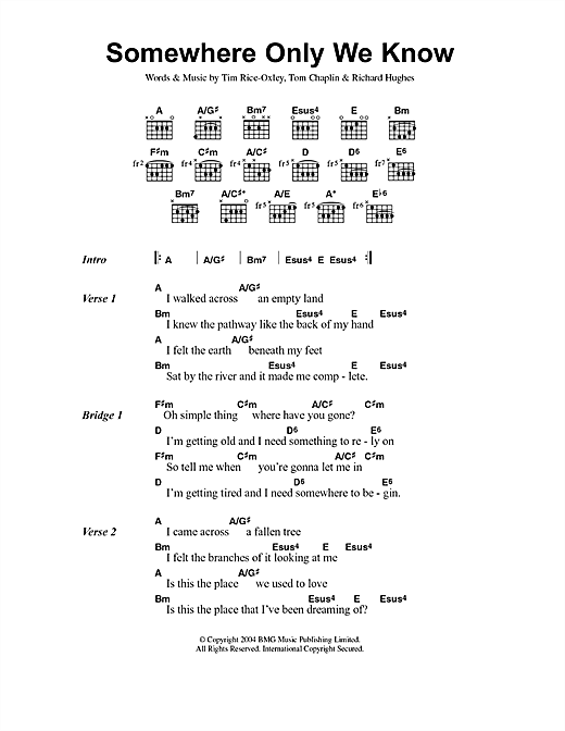 Keane Somewhere Only We Know sheet music notes and chords. Download Printable PDF.