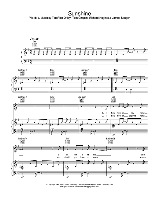Keane Sunshine sheet music notes and chords. Download Printable PDF.