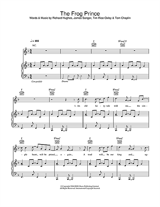 Keane The Frog Prince sheet music notes and chords. Download Printable PDF.
