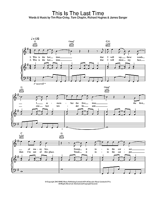 Keane This Is The Last Time sheet music notes and chords. Download Printable PDF.