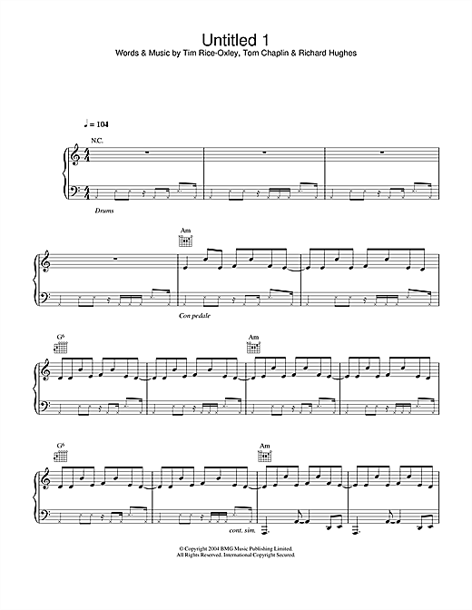 Keane Untitled 1 sheet music notes and chords. Download Printable PDF.