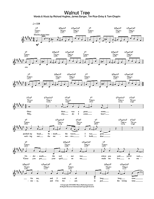 Keane Walnut Tree sheet music notes and chords