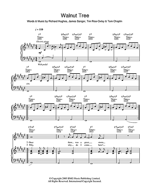 Keane Walnut Tree sheet music notes and chords. Download Printable PDF.