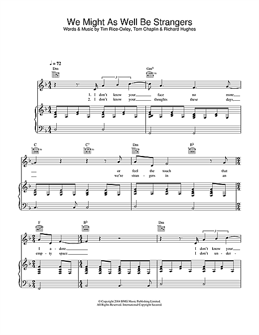 Keane We Might As Well Be Strangers sheet music notes and chords. Download Printable PDF.