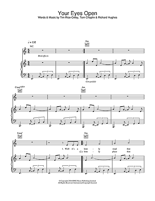 Keane Your Eyes Open sheet music notes and chords. Download Printable PDF.