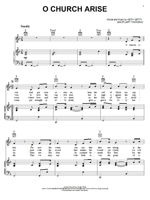 Keith & Kristyn Getty O Church Arise sheet music notes and chords. Download Printable PDF.