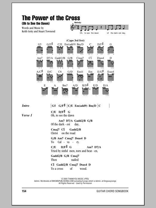 Stuart Townend The Power Of The Cross (Oh To See The Dawn) sheet music notes and chords. Download Printable PDF.