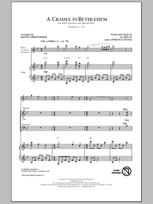 Keith Christopher A Cradle In Bethlehem sheet music notes and chords