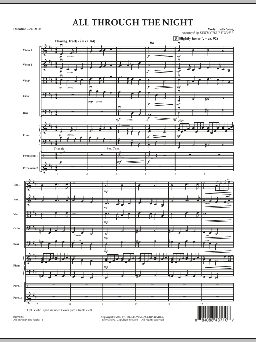 Keith Christopher All Through The Night - Full Score sheet music notes and chords. Download Printable PDF.