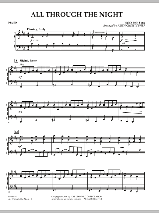 Keith Christopher All Through The Night - Piano sheet music notes and chords. Download Printable PDF.