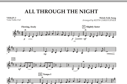 Keith Christopher All Through The Night - Violin 3 (Viola Treble Clef) sheet music notes and chords. Download Printable PDF.