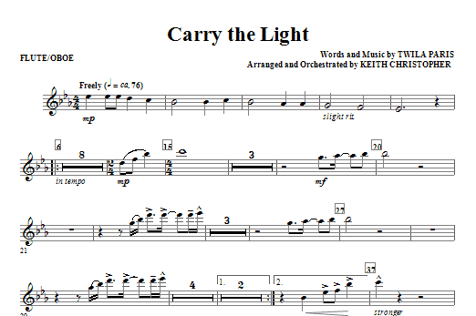 Keith Christopher Carry The Light - Flute/Oboe sheet music notes and chords. Download Printable PDF.