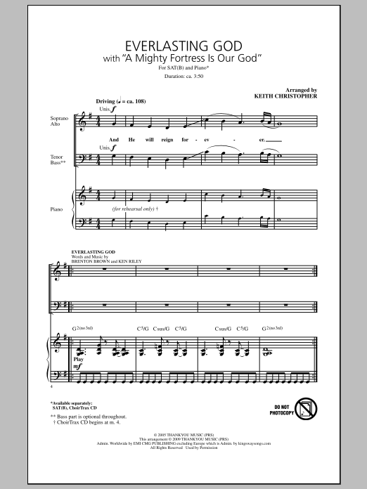 Keith Christopher Everlasting God (with A Mighty Fortress Is Our God) sheet music notes and chords. Download Printable PDF.