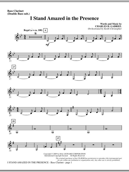 Keith Christopher I Stand Amazed In The Presence - Bass Clarinet (sub. dbl bass) sheet music notes and chords. Download Printable PDF.