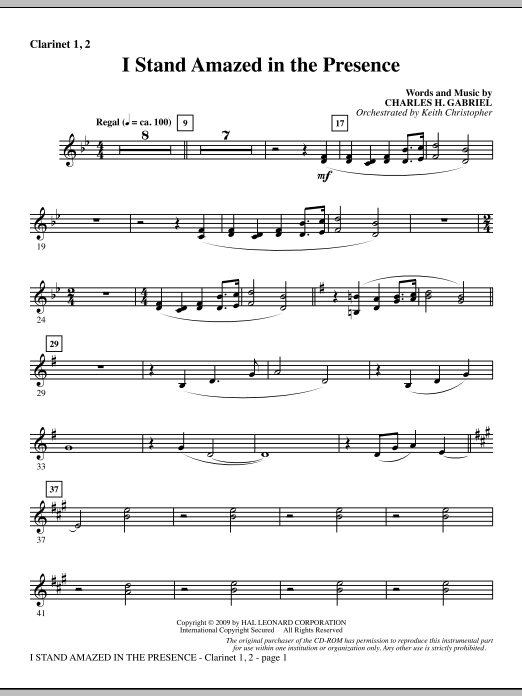 Keith Christopher I Stand Amazed In The Presence - Bb Clarinet 1 & 2 sheet music notes and chords. Download Printable PDF.