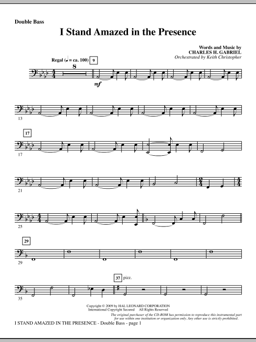 Keith Christopher I Stand Amazed In The Presence - Double Bass sheet music notes and chords. Download Printable PDF.