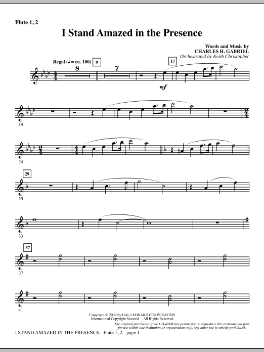 Keith Christopher I Stand Amazed In The Presence - Flute 1 & 2 sheet music notes and chords. Download Printable PDF.