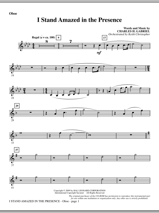 Keith Christopher I Stand Amazed In The Presence - Oboe sheet music notes and chords. Download Printable PDF.