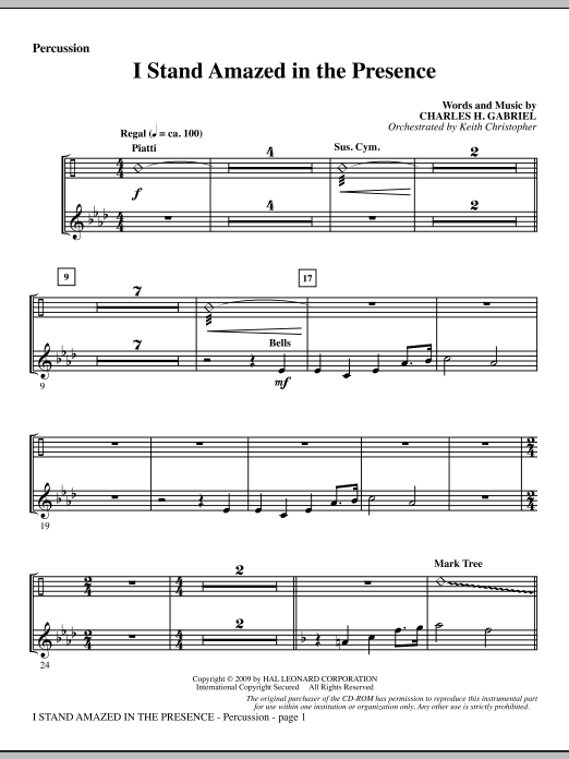 Keith Christopher I Stand Amazed In The Presence - Percussion sheet music notes and chords. Download Printable PDF.