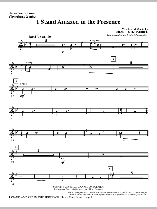 Keith Christopher I Stand Amazed In The Presence - Tenor Sax (sub. Tbn 2) sheet music notes and chords. Download Printable PDF.