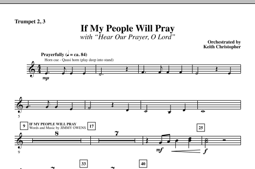 Keith Christopher If My People Will Pray (with Hear Our Prayer, O Lord) - Bb Trumpet 2,3 sheet music notes and chords. Download Printable PDF.