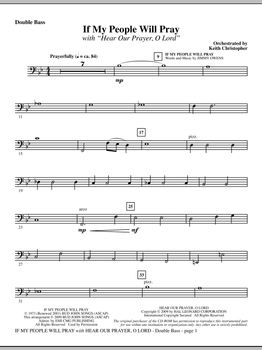 Keith Christopher If My People Will Pray (with Hear Our Prayer, O Lord) - Double Bass sheet music notes and chords. Download Printable PDF.