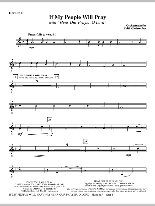 Keith Christopher If My People Will Pray (with Hear Our Prayer, O Lord) - F Horn sheet music notes and chords. Download Printable PDF.