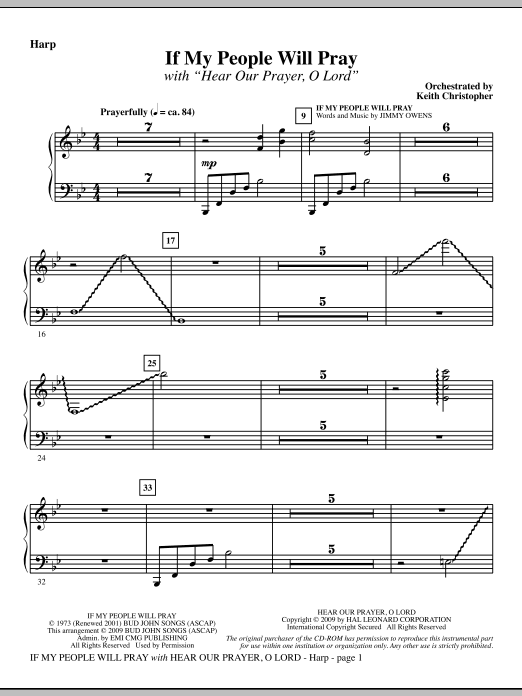 Keith Christopher If My People Will Pray (with Hear Our Prayer, O Lord) - Harp sheet music notes and chords. Download Printable PDF.