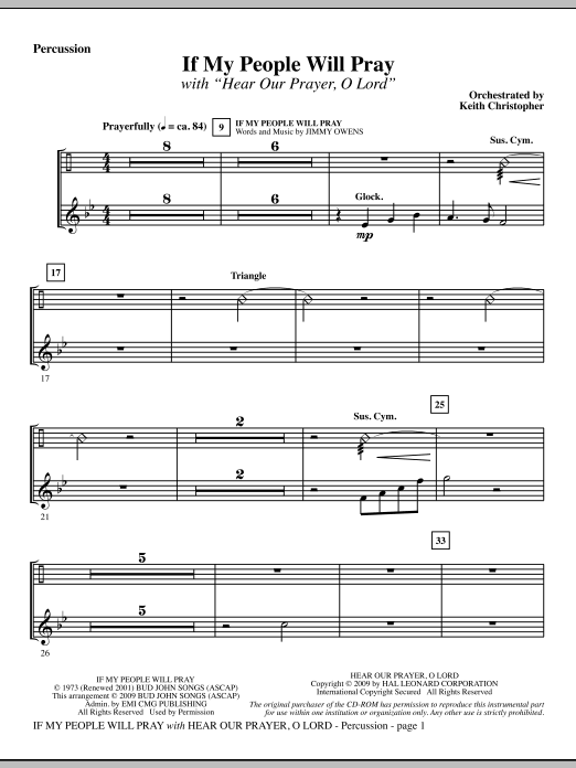 Keith Christopher If My People Will Pray (with Hear Our Prayer, O Lord) - Percussion sheet music notes and chords. Download Printable PDF.