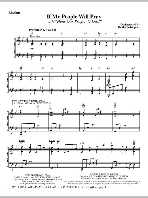 Keith Christopher If My People Will Pray (with Hear Our Prayer, O Lord) - Rhythm sheet music notes and chords. Download Printable PDF.