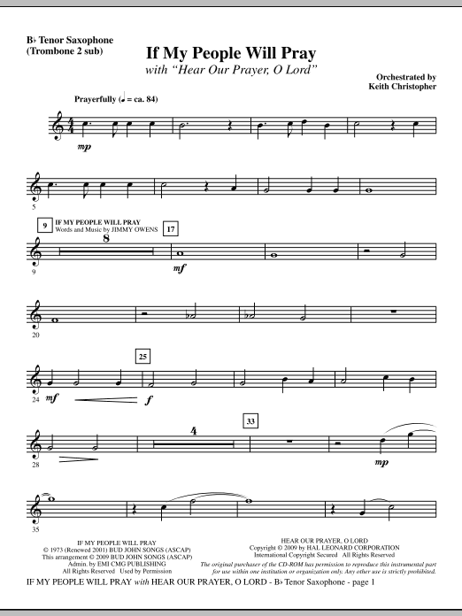 Keith Christopher If My People Will Pray (with Hear Our Prayer, O Lord) - Tenor Sax (sub. Tbn 2) sheet music notes and chords. Download Printable PDF.
