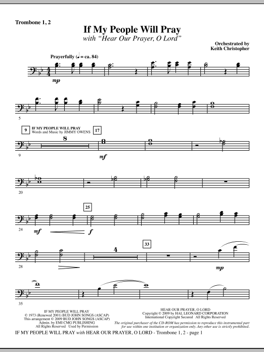 Keith Christopher If My People Will Pray (with Hear Our Prayer, O Lord) - Trombone 1 & 2 sheet music notes and chords. Download Printable PDF.