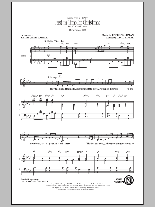 Keith Christopher Just In Time For Christmas sheet music notes and chords. Download Printable PDF.