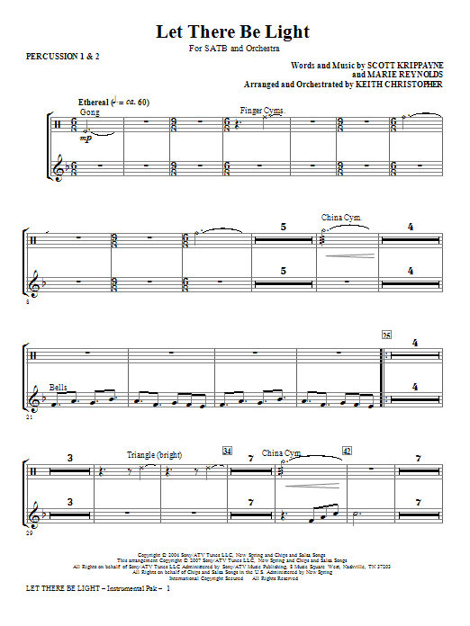 Keith Christopher Let There Be Light - Percussion 1 & 2 sheet music notes and chords